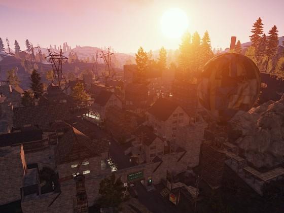 MeinRust Dorf OBEN Sonnenuntergang